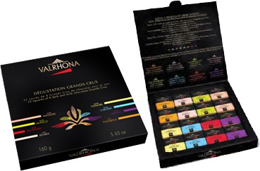 Box containing 66 squares of 6 Grand Cru Chocolates  Valrhona