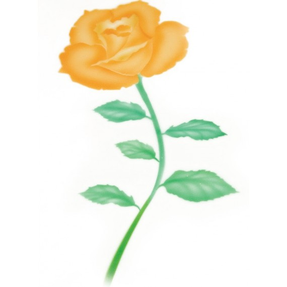 Pochoir Motif Rose Jaune