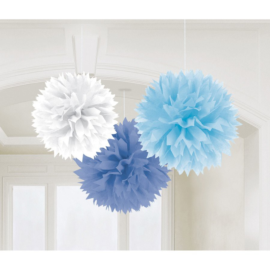 White and Blue pompoms