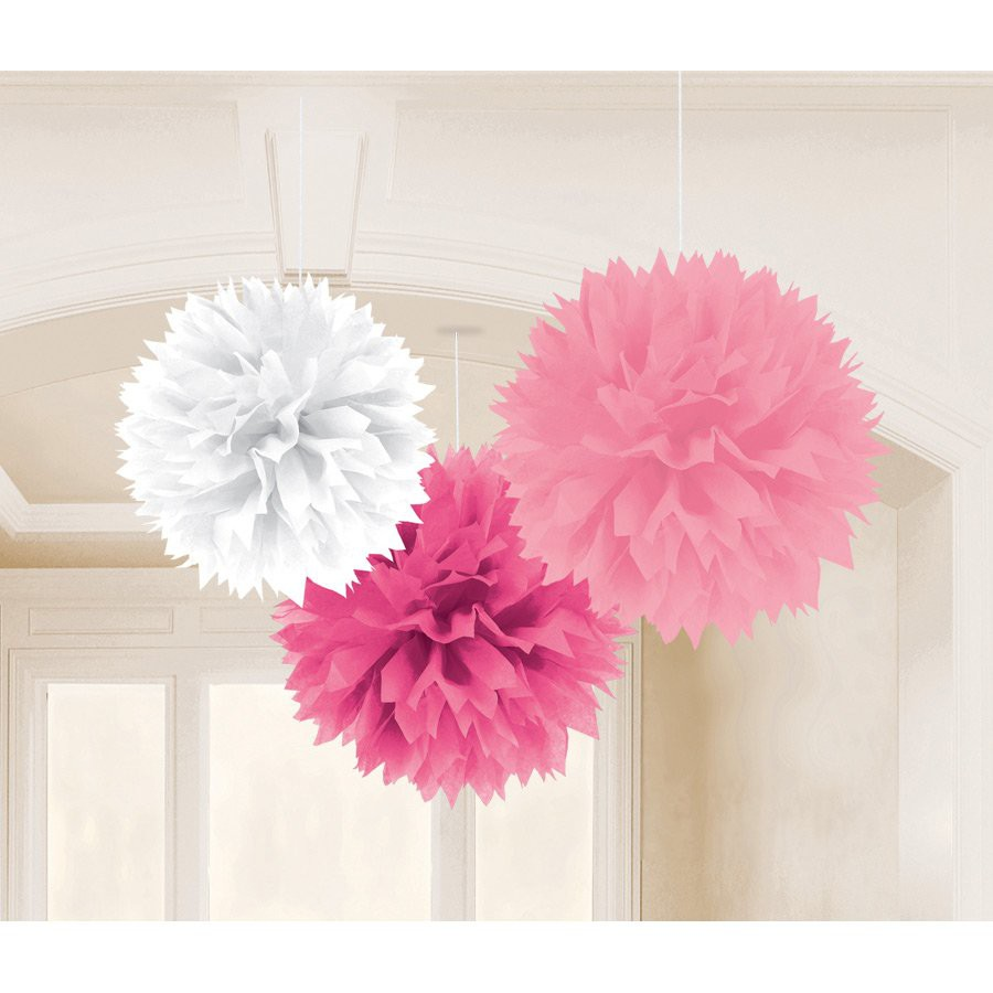 White and Pink pompoms