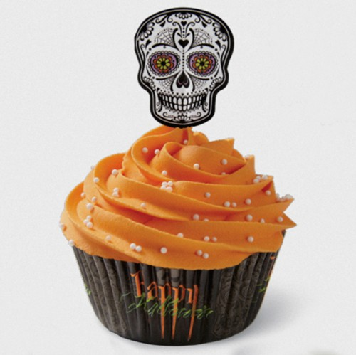 Calavera cupcake baking cup with topper