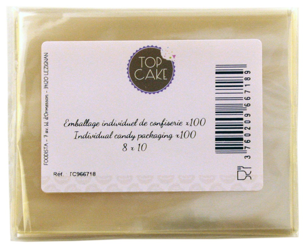 TopCake – Confectionnery bags x 100 – Rectangle 8x10cm