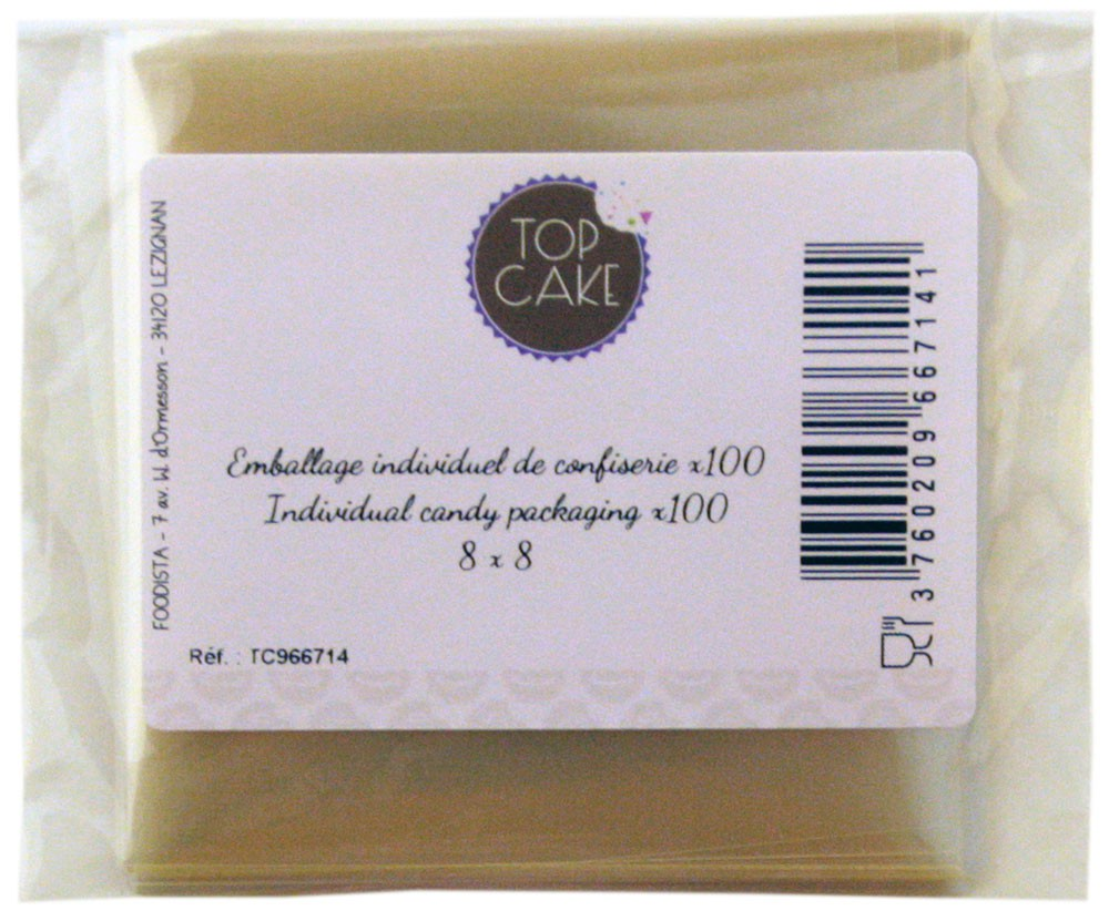 TopCake – Confectionnery bags x 100 - Square 8cm