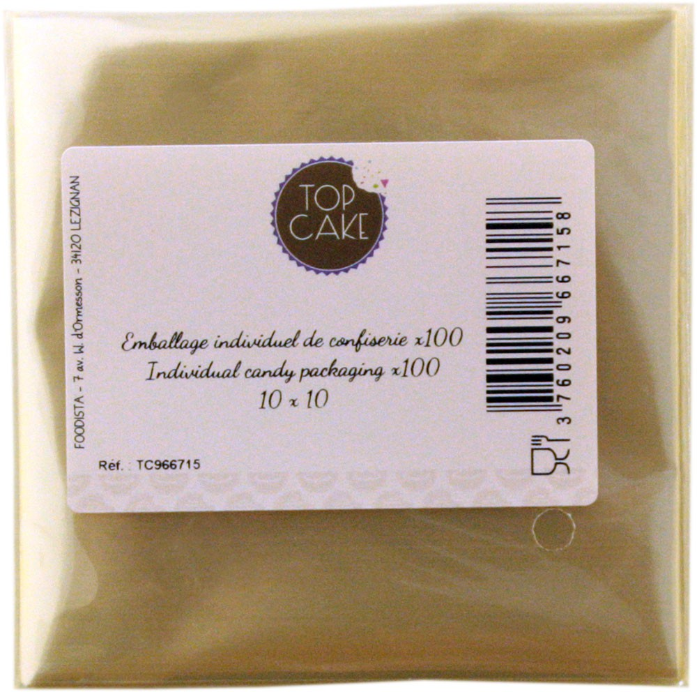 TopCake – Confectionnery bags x 100 - Square 10cm