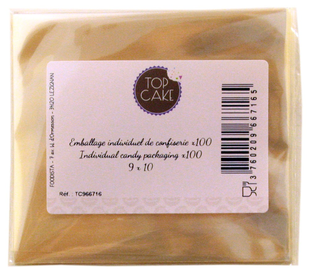 Emballages de confiserie x 100 Rectangle 9x10 cm - TopCake *
