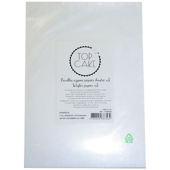 5 Feuilles Wafer paper - azyme A4 lisses