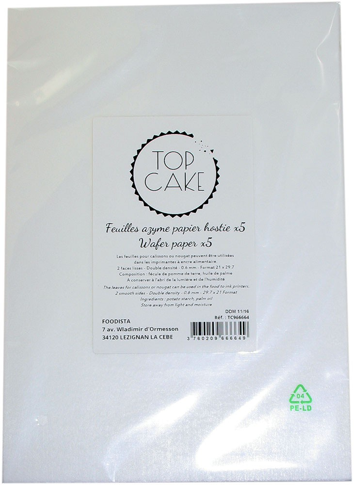 5 wafer paper sheets A4 / double density smooth faces - TopCake