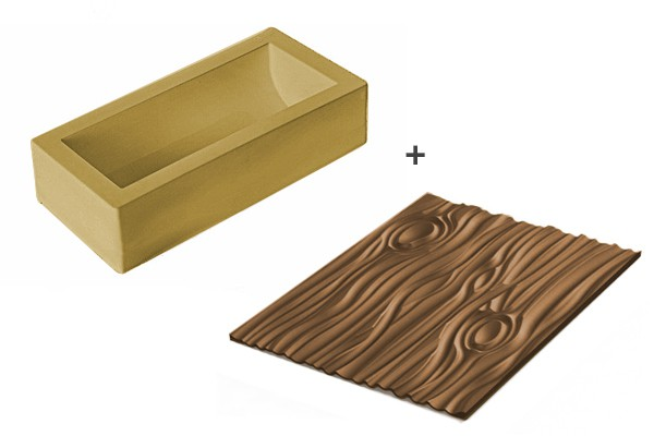 Magic Wood Yule log golden silicone mould with mat