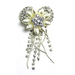 Broche coeur, Perles et strass wedding cake