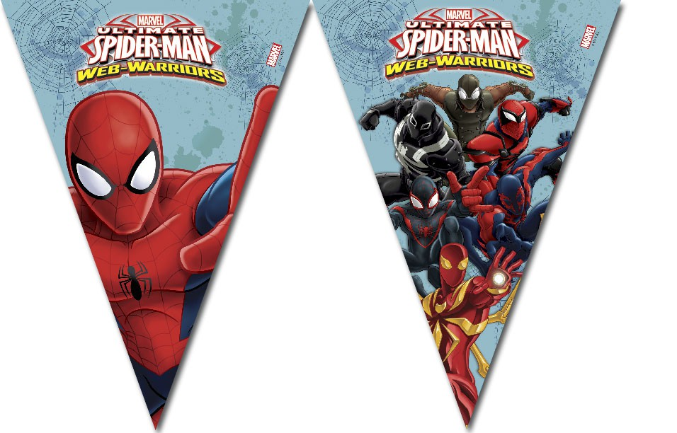 Spiderman garland with flags