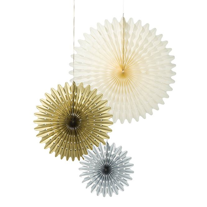 3 Gold and Silver and Ivory Large paper Rosettes.