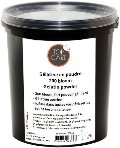 TopCake – 200 bloom powder gelatin Gélatine 700g