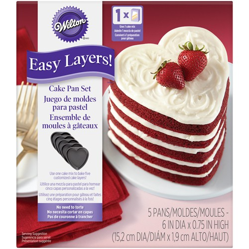 5 heart shaped layer cake moulds
