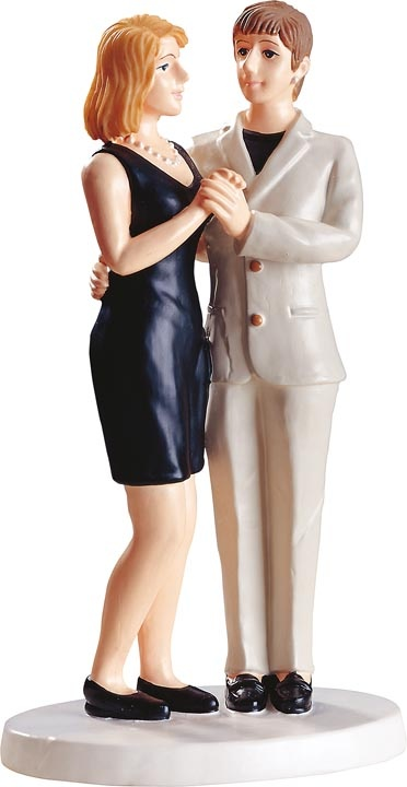 Gay wedding black dress women figurine