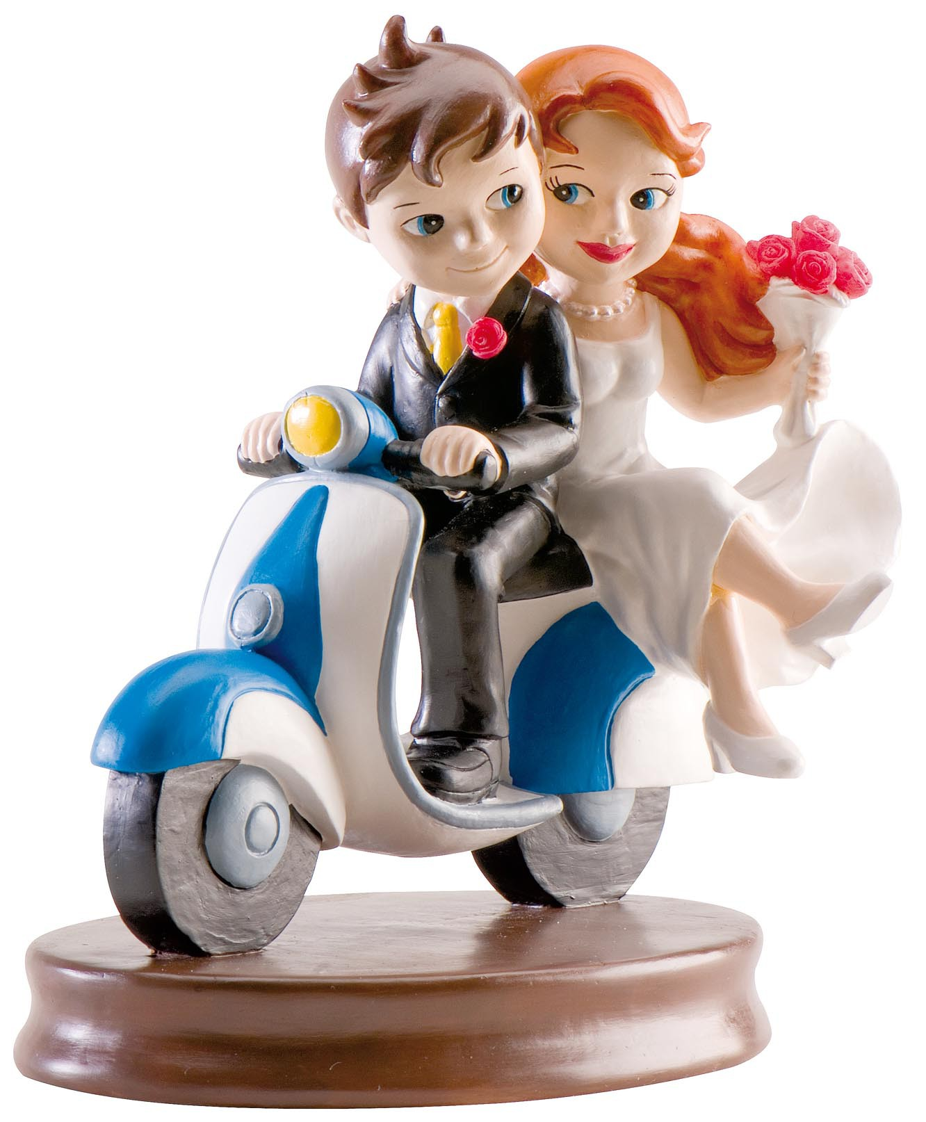 Married couple riding a scooter figurine