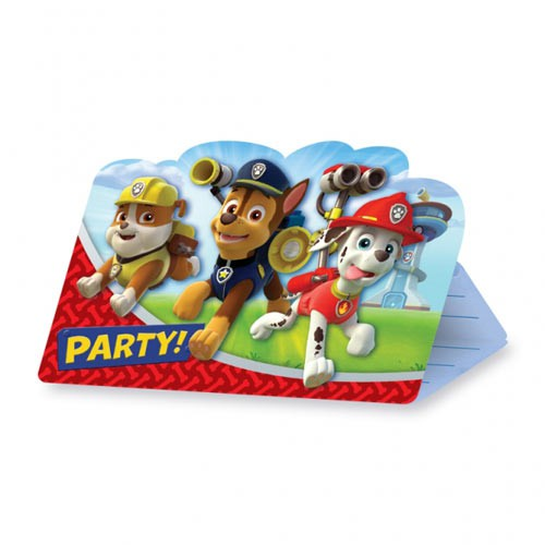 8 Paw Patrol invitation cards