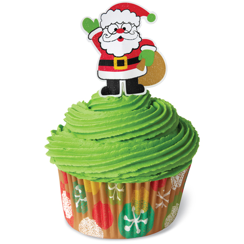Santa Claus and Christmas decorations baking cups