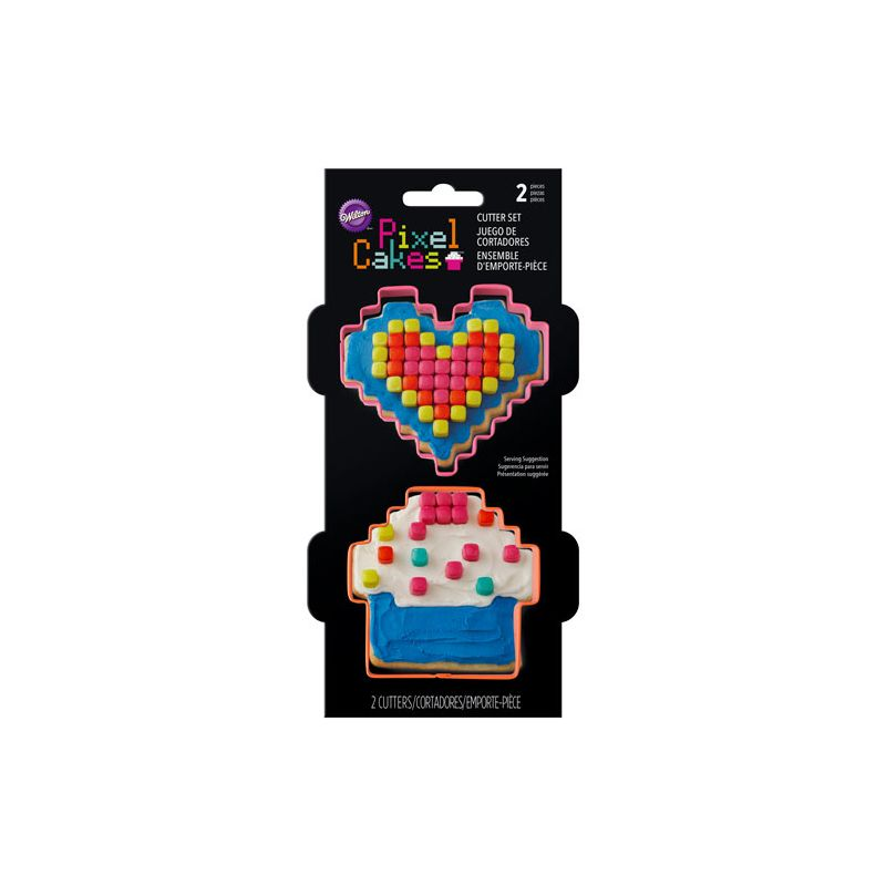 Pixel Heart And Cupcake Cookie Cutter