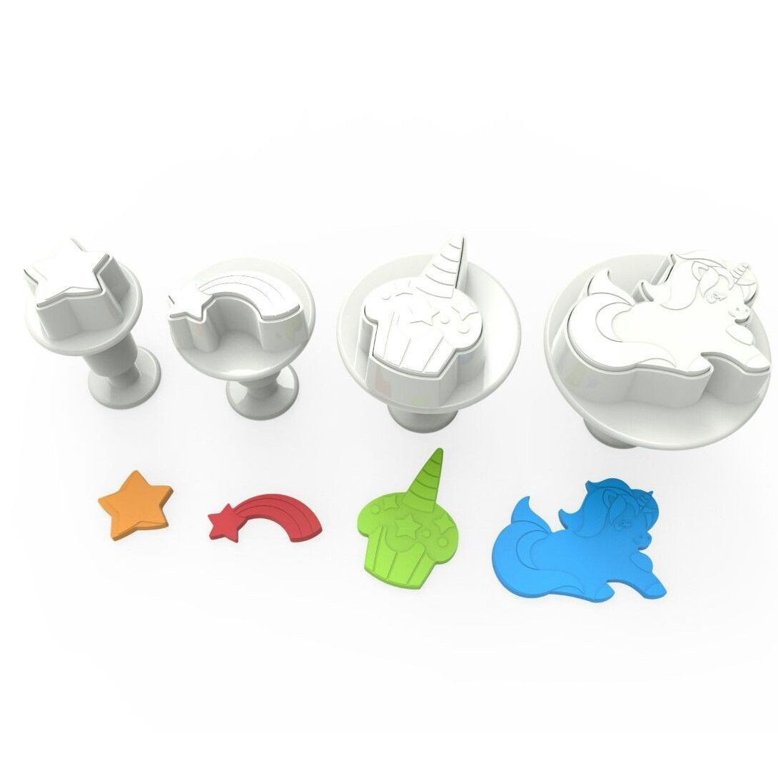 Unicorn cookie cutter with ejector x4
