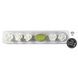 Roses Blanches en sucre x 5