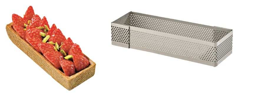 Perforated rectangle pie baking ring 12cm