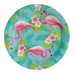 8 Assiettes Flamant Rose - Flamingo Paradise