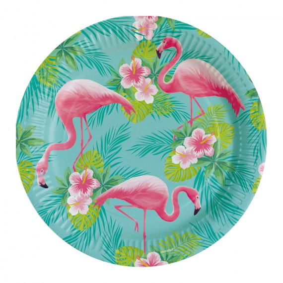 8 Assiettes Flamand Rose - Flamingo Paradise