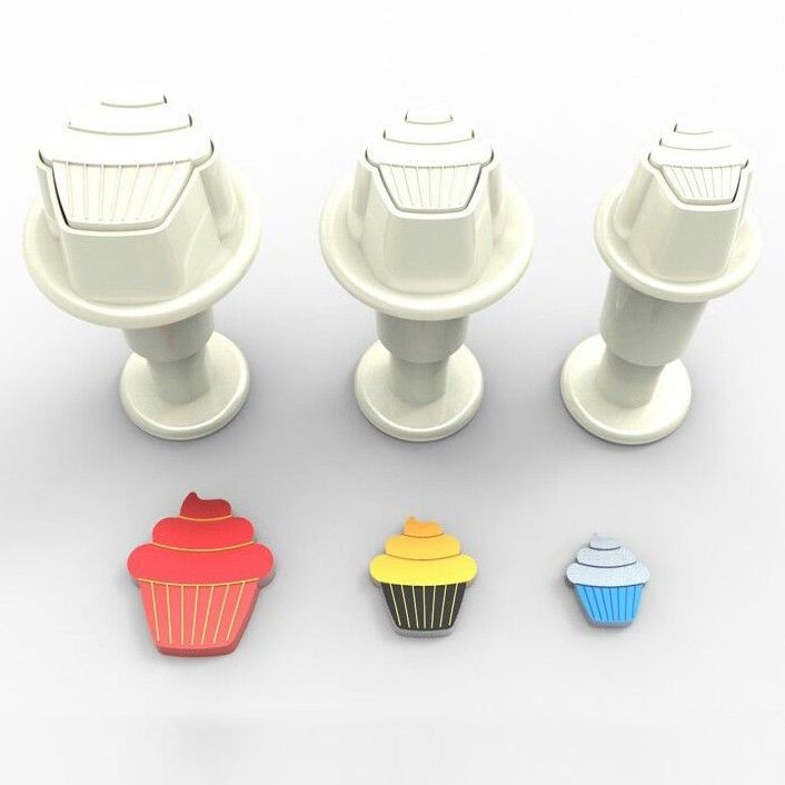 Small cupcakes cookie cutter with ejector x3