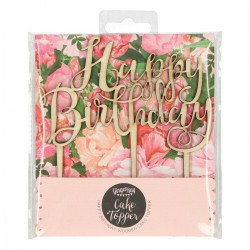 Topper Happy Birthday en Bois @
