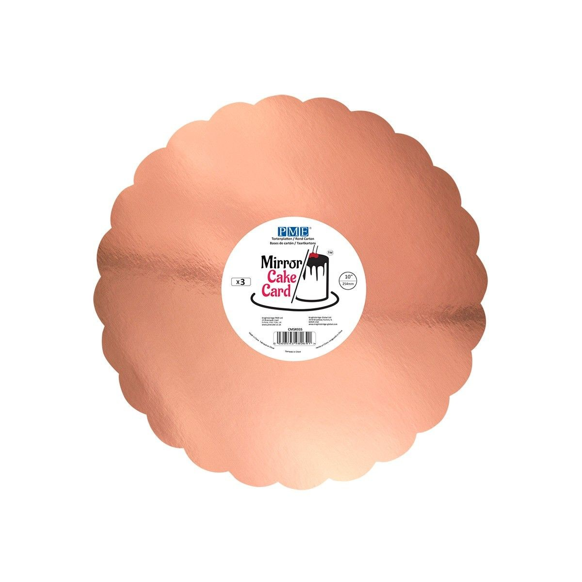 Wavy cakedrum pink and gold mirror x 3 - 25 cm