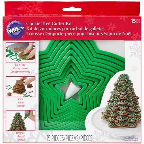 Christmas tree cookie cutters stacking kit