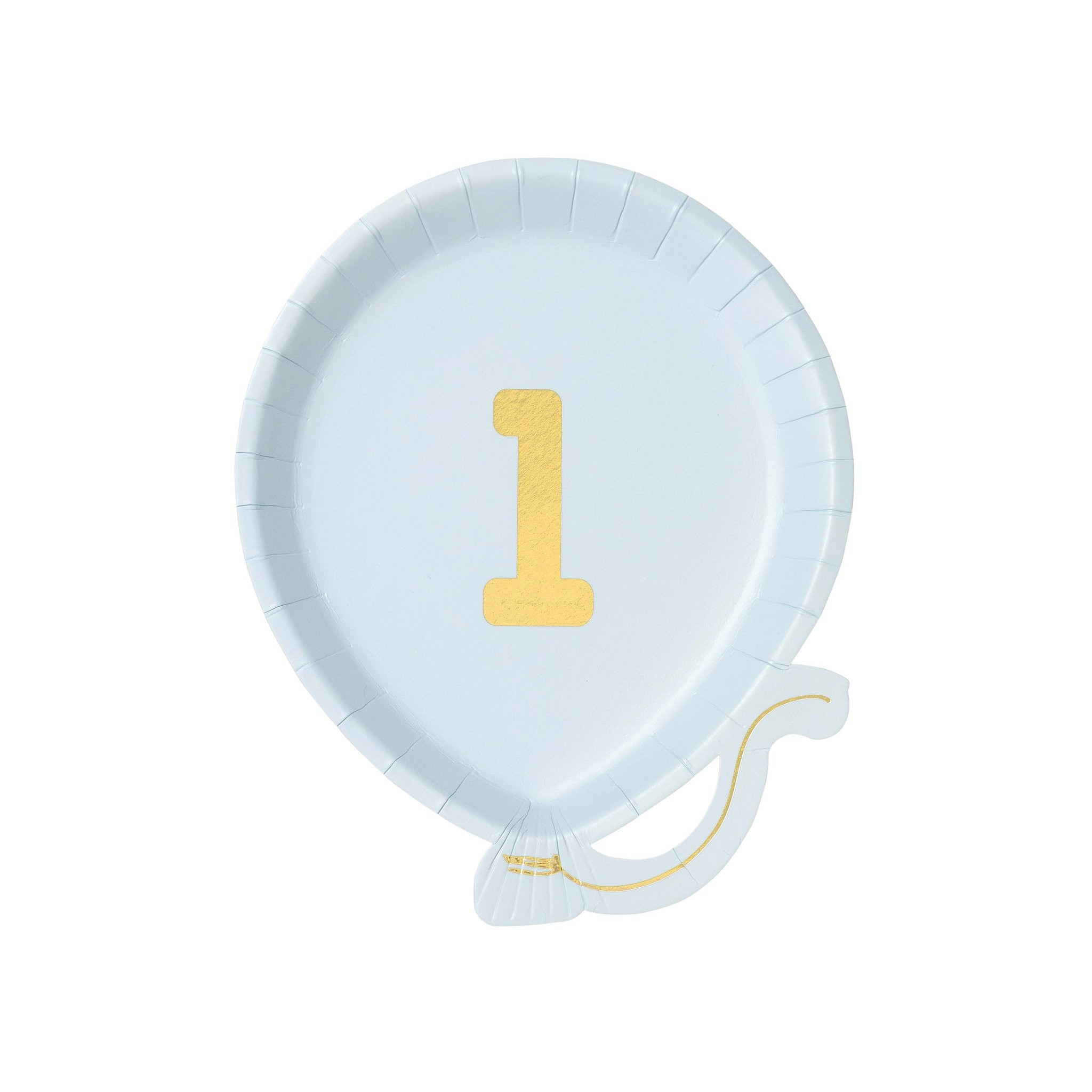 1st Birthday blue balloon shaped plates x12