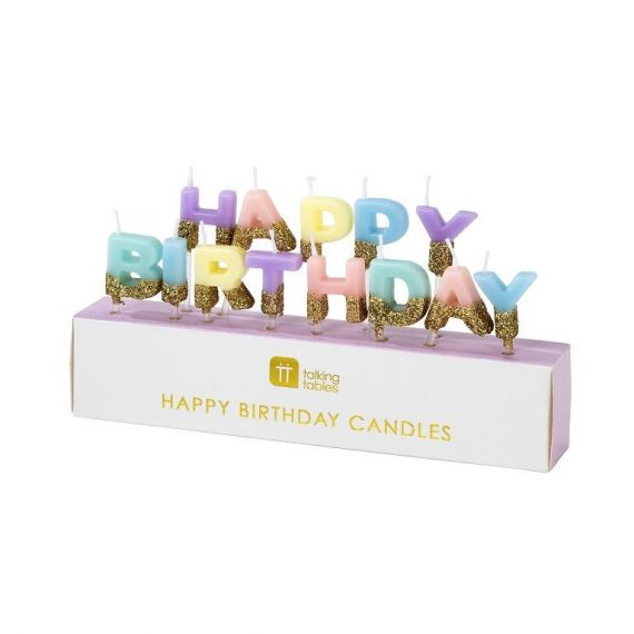 Bougies Happy birthday pastel paillettes