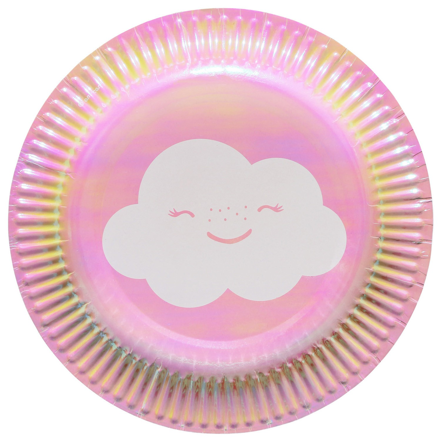 Rainbow & clouds pink plates x8