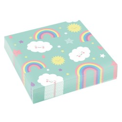 20 Serviettes nuages Rainbow & Clouds