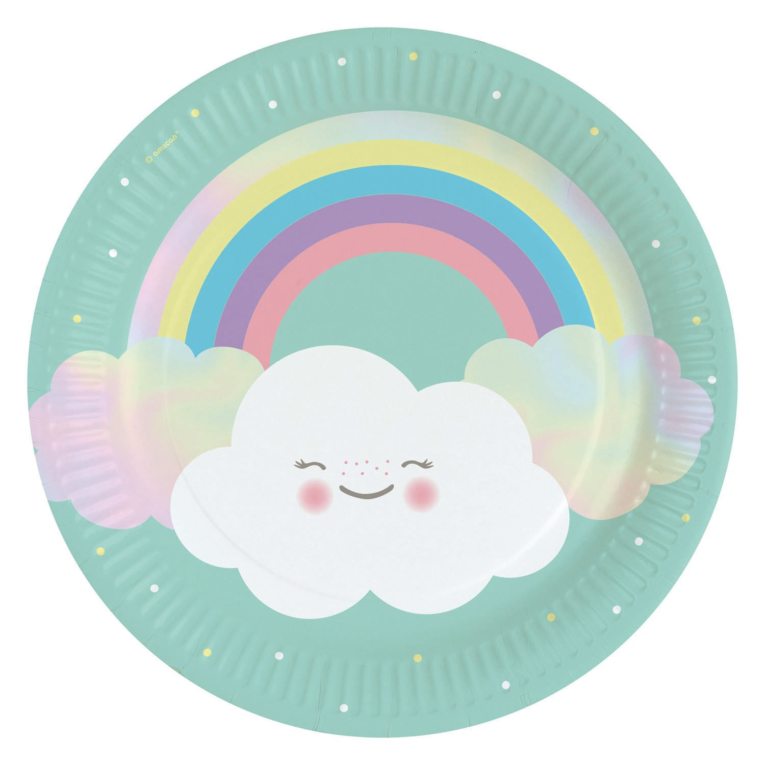 Rainbow & Clouds plates x8