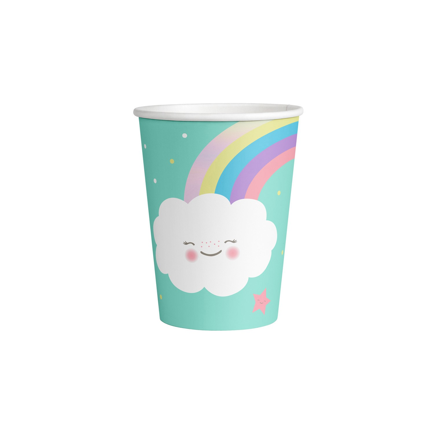 Rainbow & Clouds cups x8