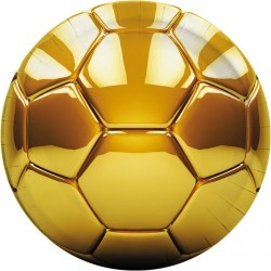 8 assiettes football or