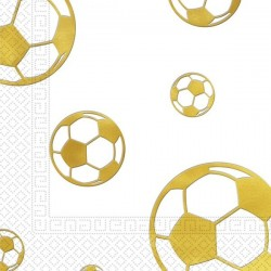 15 serviettes en papier football or