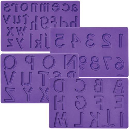 Wilton Silicone mould x 4 Numbers and alphabet**
