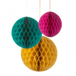 Honeycombed Paper balls Yellow Green Pink