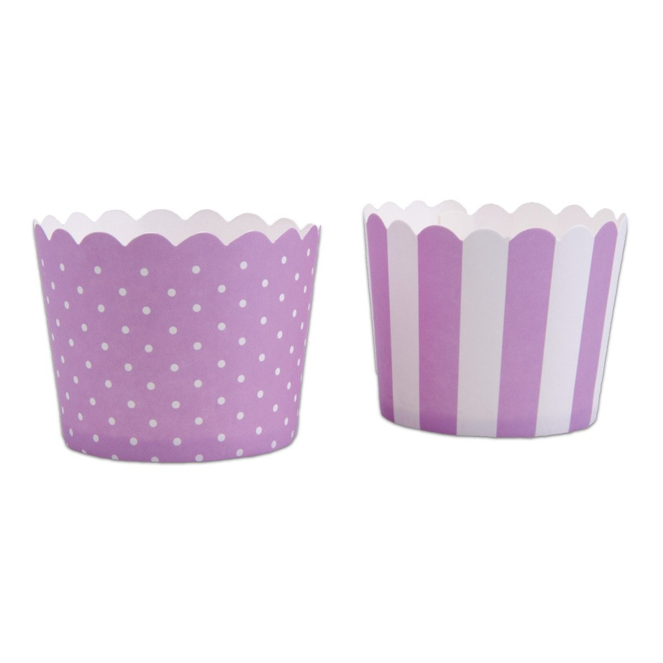 Violet and white cupcake cases