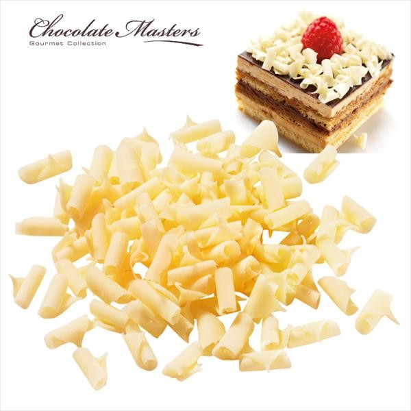 Thin white chocolate shavings