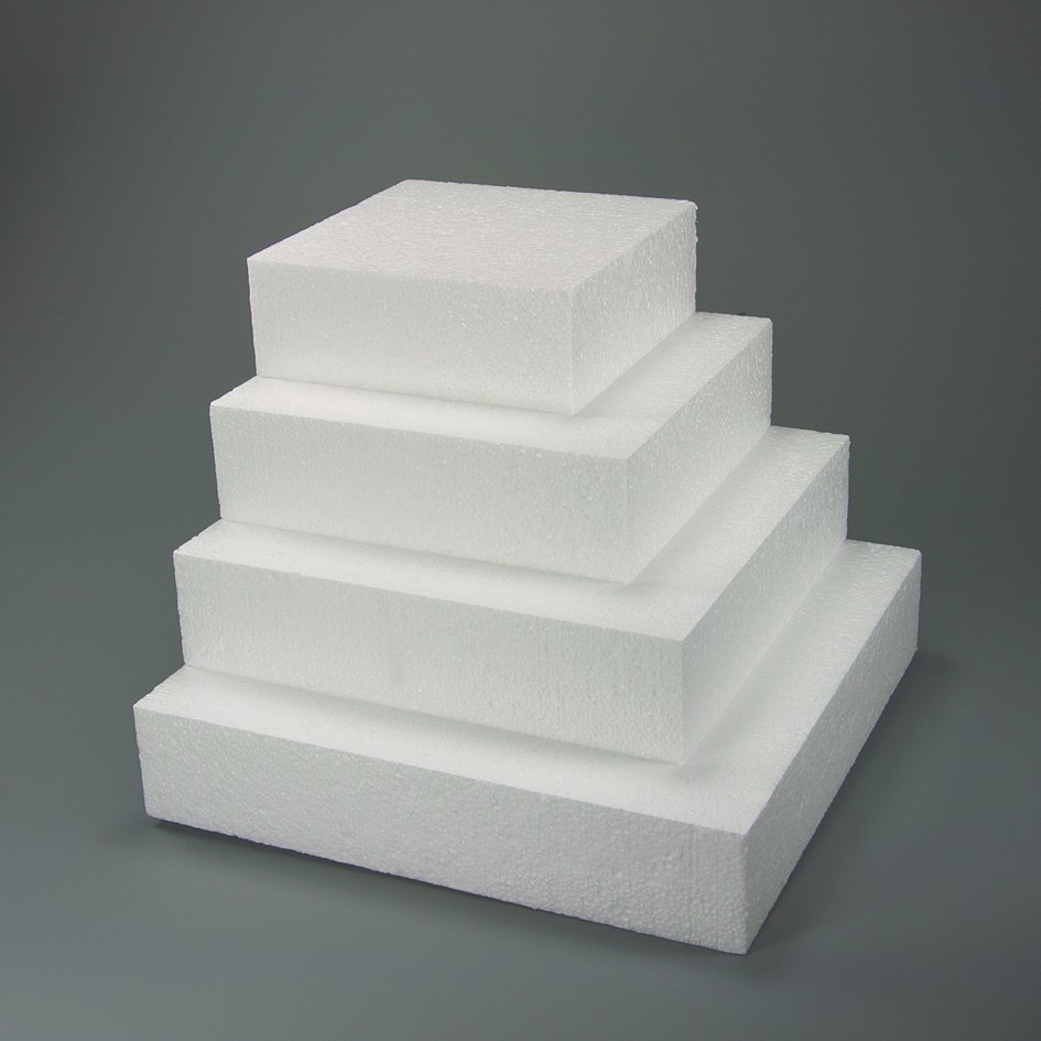 Square Dummy – Polystyrene for cakes 9.84 in. X 9.84 in. H 2.75 in. **