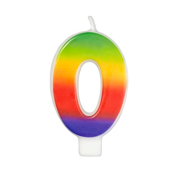 Rainbow numeral candles  N°  0