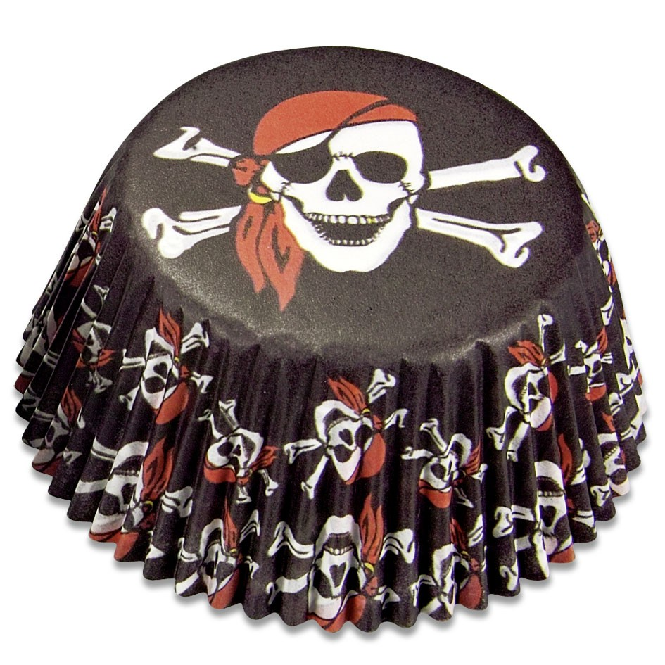Mini pirate paper cupcake mould* - Black